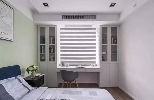 书桌靠窗的同时,两侧还可以装成书架,精致实用.图片