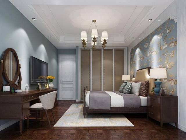 商联中心186平三房美式风格装修设计--卧室图片