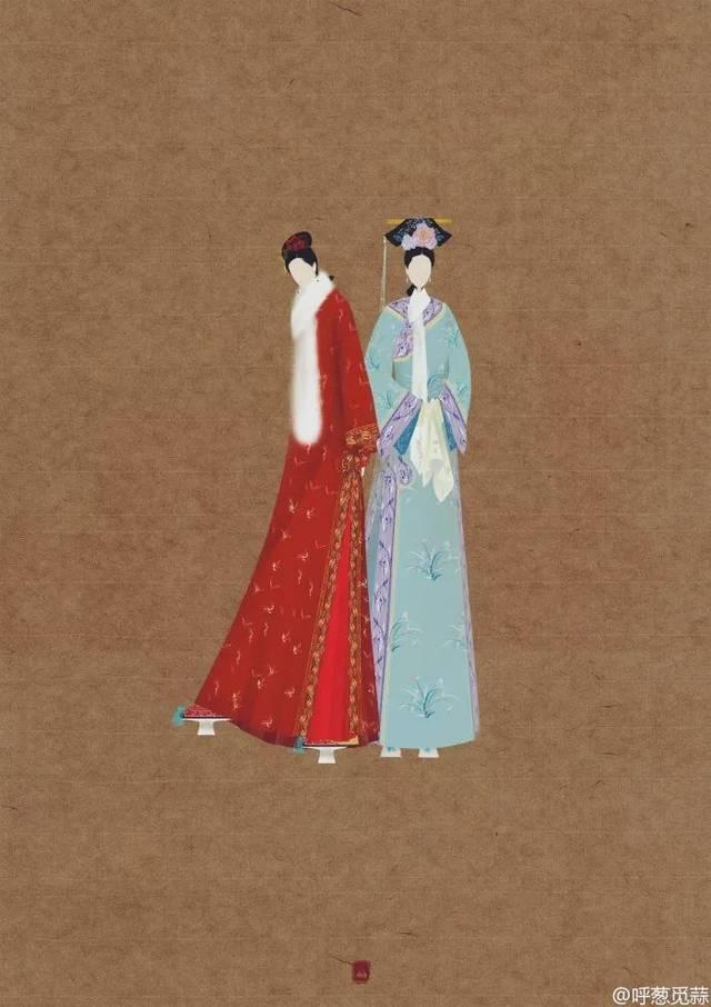 呼葱觅蒜的古风画作并非凭空臆想,她对于古代的服饰花纹也有一些研究