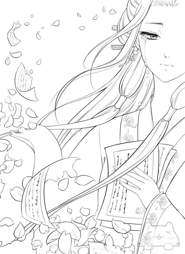 干货  100张女生绘画线稿素材,二次元动漫,古风美女