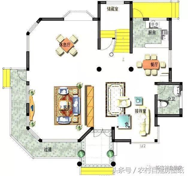 43平方米 建筑面积:310平方米 别墅设计精致,花纹大气美观,圆型石柱