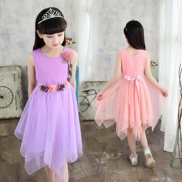 10童装女童连衣裙2018新款夏季儿童雪纺公主裙子中大童吊带纱裙9