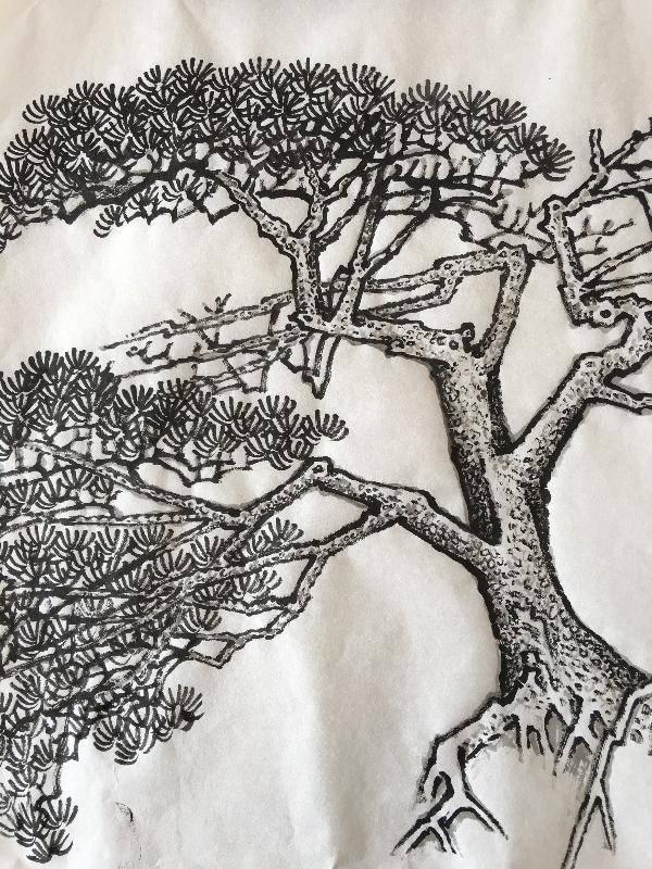 第四步,用淡墨半皱擦半染的方法,在原来的笔画上画一遍以增加厚重感和lol平a技巧图片