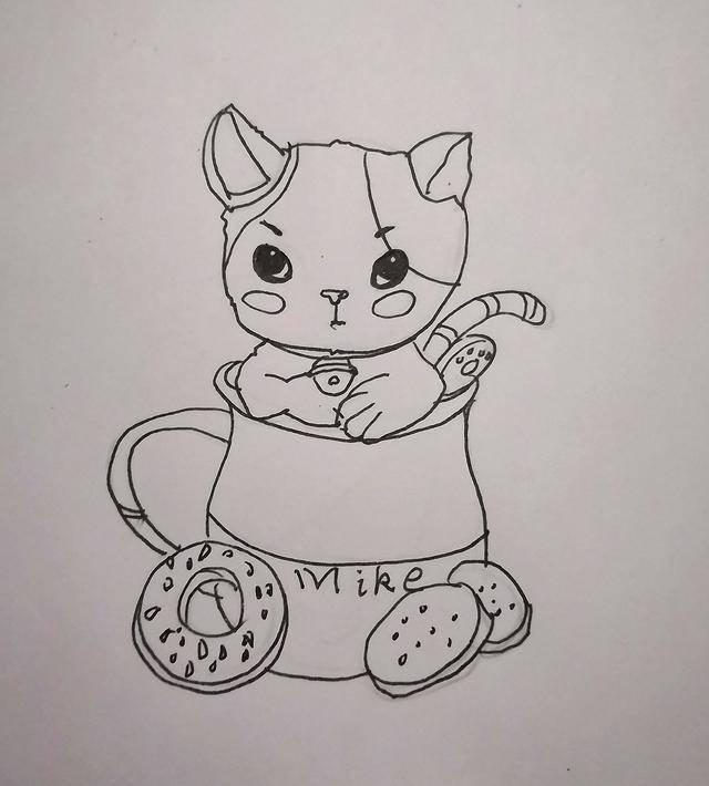 手绘黑白素描可爱萌萌哒的杯中猫,可爱又萌有学问的猫