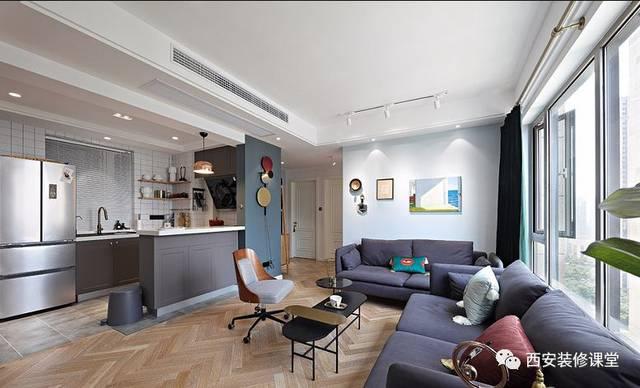 客厅看开放式厨房,地面瓷砖与人字形木地板混搭铺贴