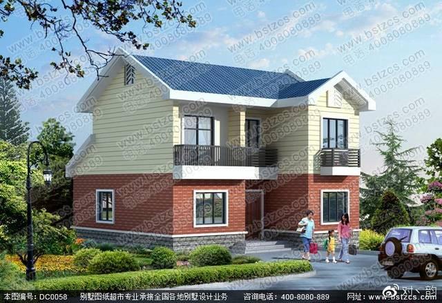 本款图纸为新农村二层坡屋顶别墅效果图及施工图.