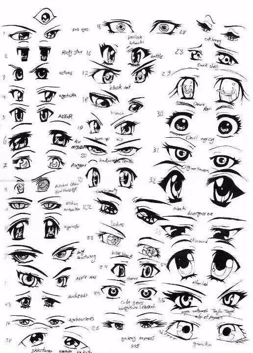 绘画教程 这里1000多个眼睛画完你就是大触了