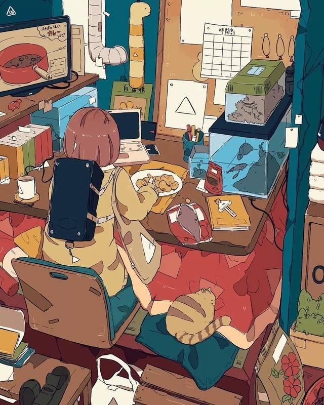 女孩子的房间凌乱这样还觉得很温馨,这个只在插画的世界里!图片