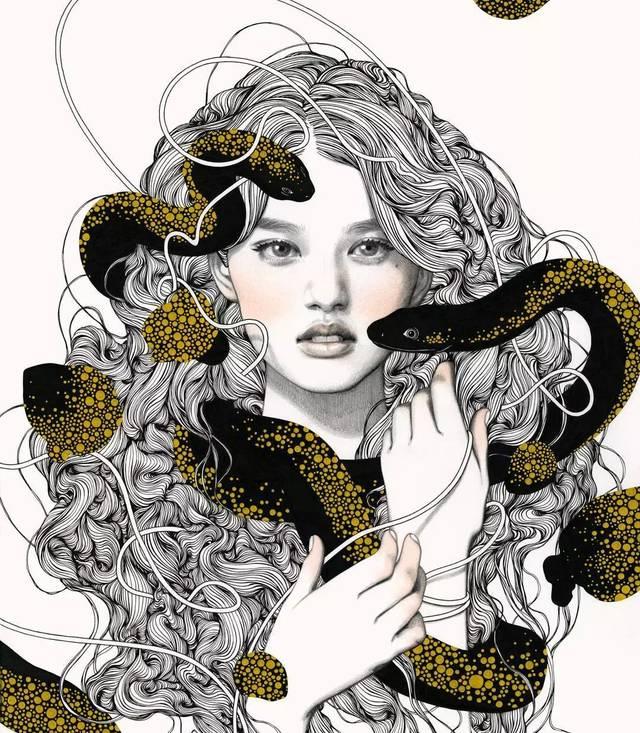 她 善于人物插画 结构严谨,画风炫酷 人物装饰很强,喜欢在人物身上