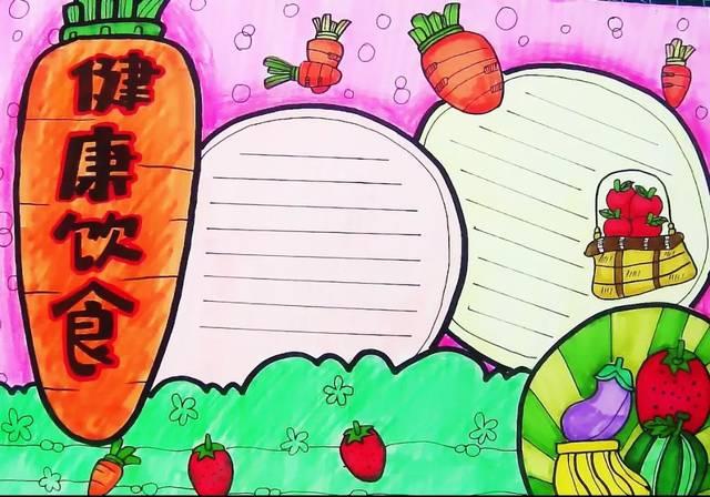 你绘画健康饮食手抄报作业,超级简单哦,一看就学会,等你收藏