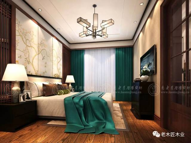 新中式卧室背景墙效果图 打造风雅意境!图片