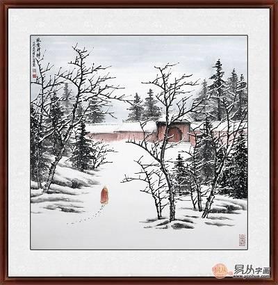 雪景山水画 吴大恺潜心之作国画《雪中参禅》规格尺寸: 斗方画 (68*68图片