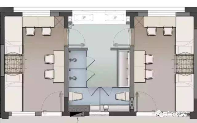 """话不多说,放图: 宿舍亮点: 1,宿舍均采用""""2 1模块"""",即两间4人间卧室 1图片"""