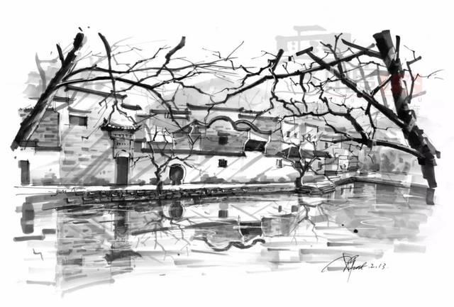 环艺小区手绘黑白