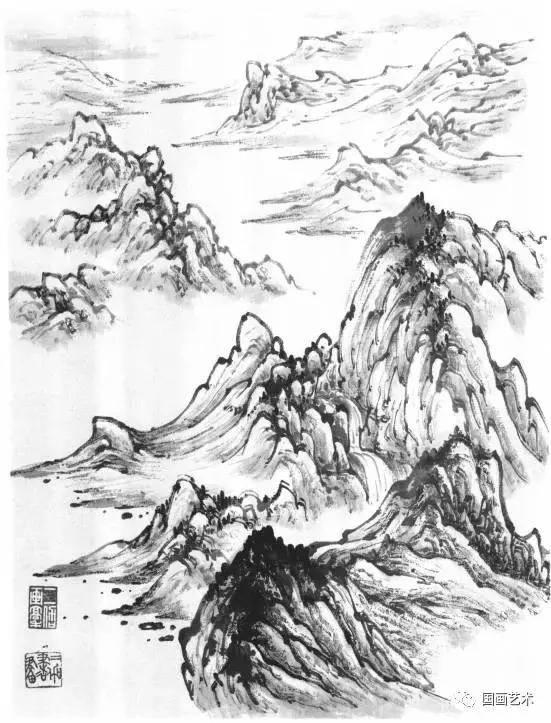 山水画基础技法教程,各种山石的画法及皴法详解,0基础