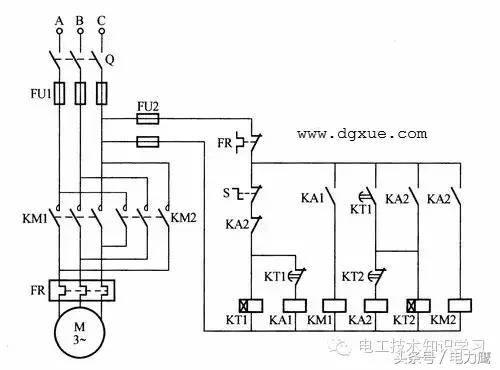电动机正反转,限时自动往返(时间继电器)控制电路接线