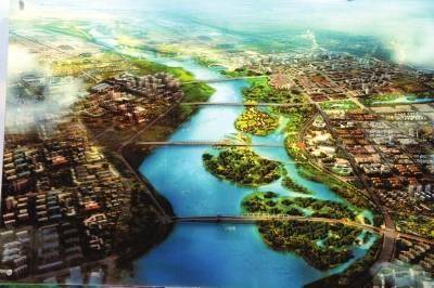 南阳市新城区规划效果图,由生态长廊相隔组团式发展