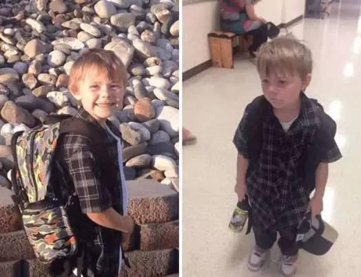 直擊小孩上學前后對比照,讓人看著又好笑又心疼圖片