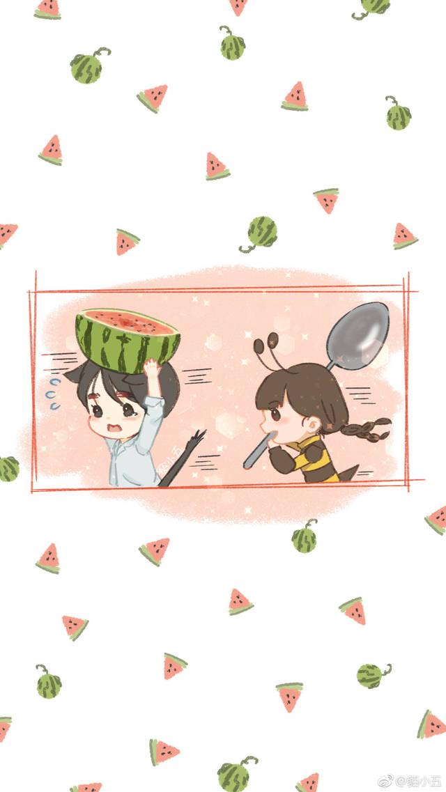 饭绘分享  李易峰遇抢瓜小蜜蜂 扛起大西瓜就跑图片