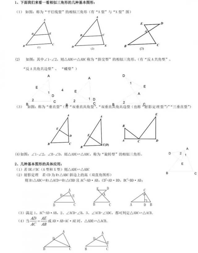 知識點丨初中數學相似三角形基本知識點+經典例題,暑假看起來!圖片