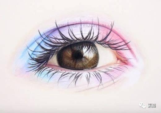 好漂亮的眼睛,用彩色铅笔画一个多彩眼睛!图片