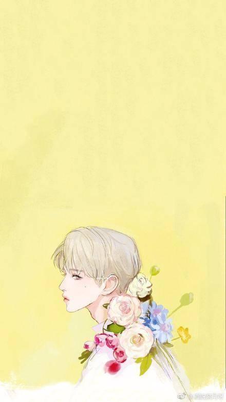 蔡徐坤手绘手机壁纸图片9p
