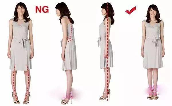 下面是一组穿高跟鞋站立行走时正确与错误的姿势对比