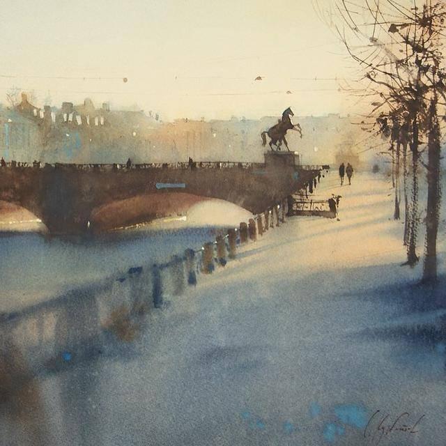 俄罗斯水彩画家的速写型风景画,画得那么奔放,居然画得这么好