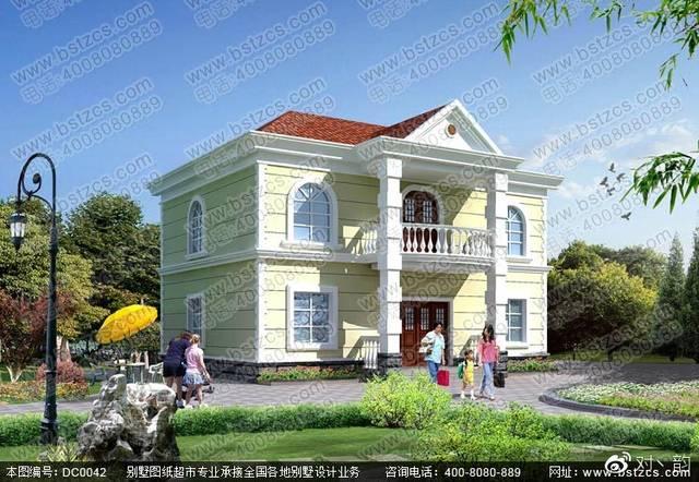 4×10.5米二层别墅设计效果图及施工图