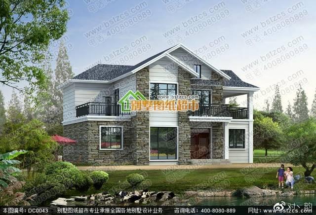 新农村二层坡屋顶别墅设计效果图