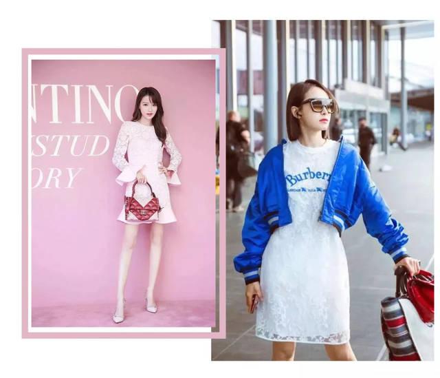 当然啦,喜欢粉色系的小仙女可以像孙怡这样,选择 粉色的蕾丝连衣裙
