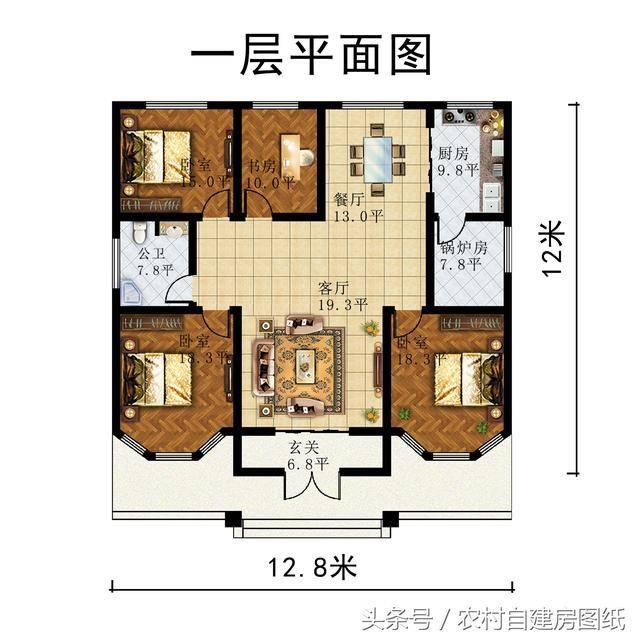 3款一层农村平房别墅,12万15万18万,你选锅炉房还是阳光房?图片