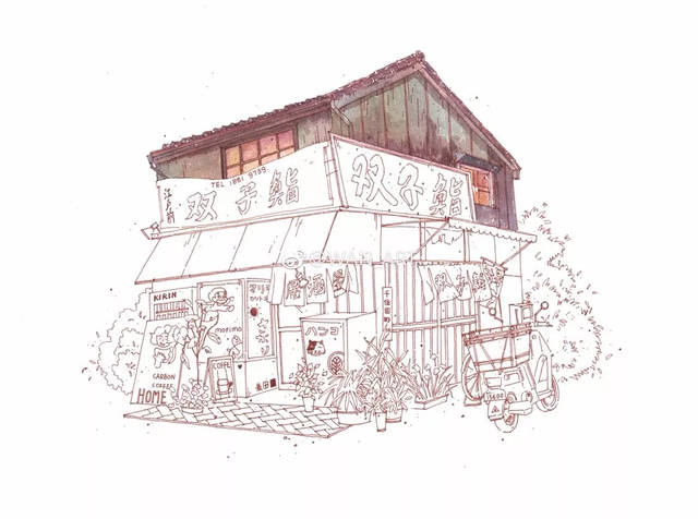 绘画教程   钢笔淡彩画法步骤,京都小木屋