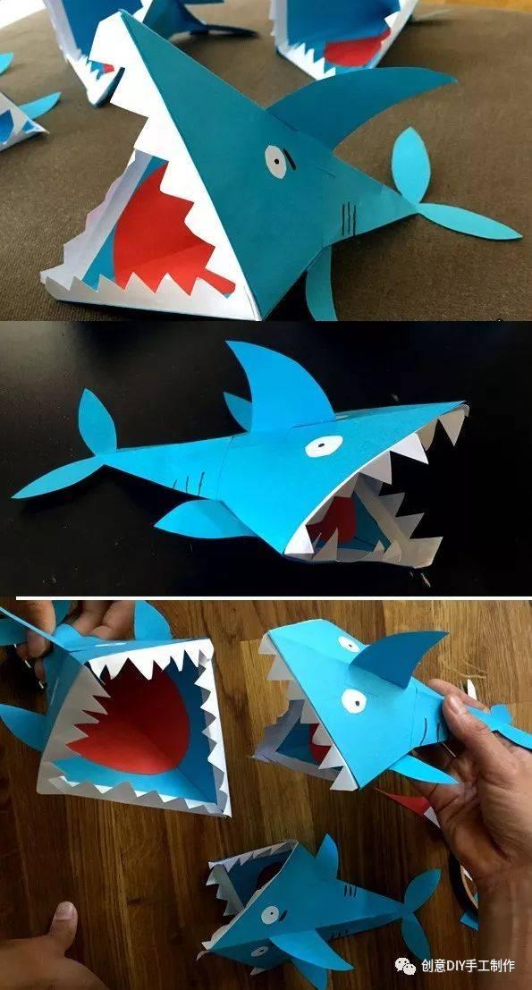 亲子手工|立体鲨鱼手工制作教程