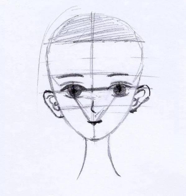 人物正脸画法