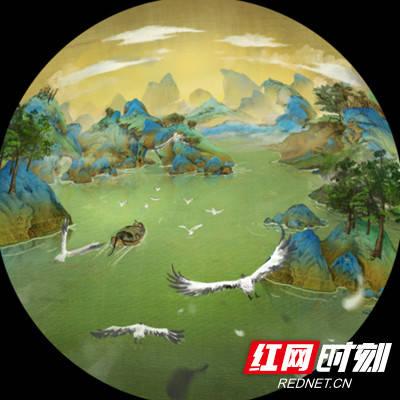 今天,株洲方特欢乐世界中国画主题球幕影院游乐项目《飞越千里江山》图片