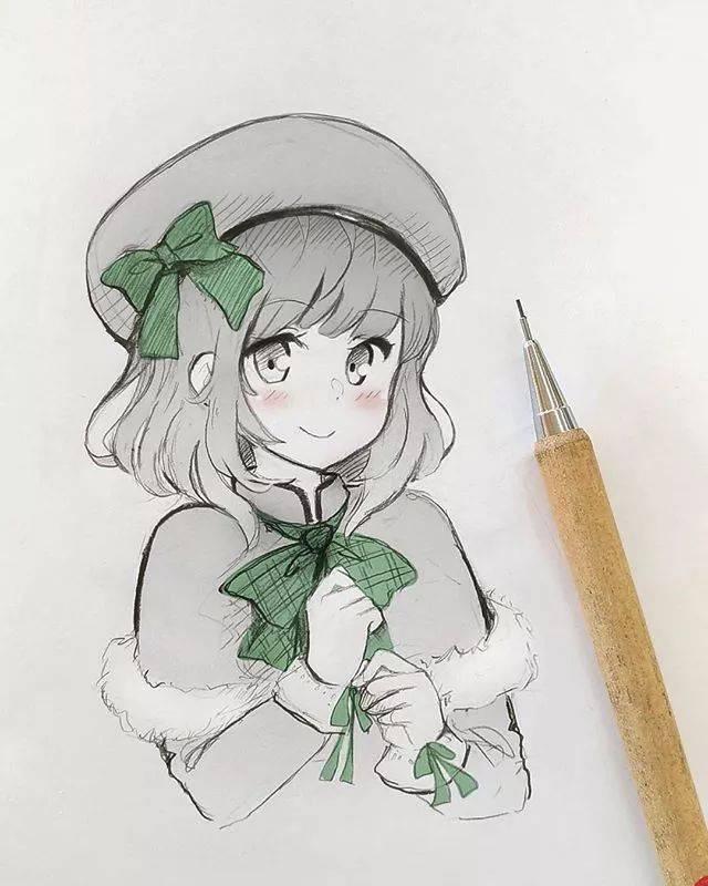 马克笔画出的可爱美少女