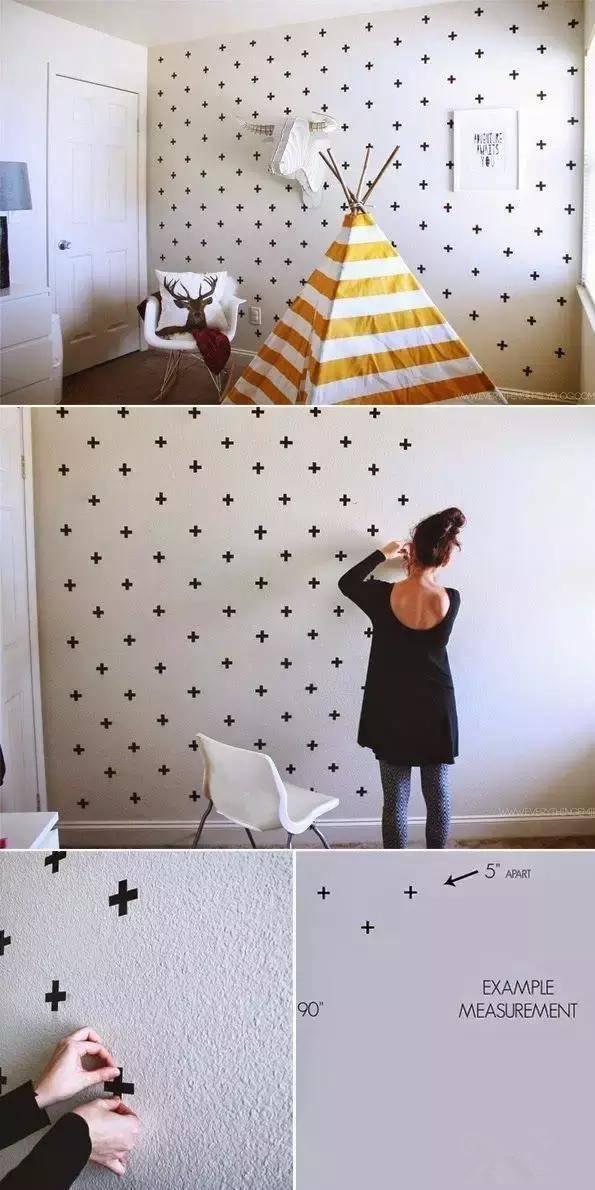 胶带给墙面做装饰 ▲跳跃颜色的几何三角形装饰墙体,省钱又出效果!图片