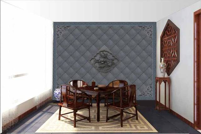 仿古砖雕:私家仿古装修-客厅仿古墙面装饰