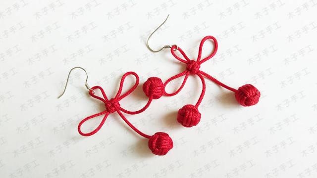 樱桃红绳耳环编织图文教程