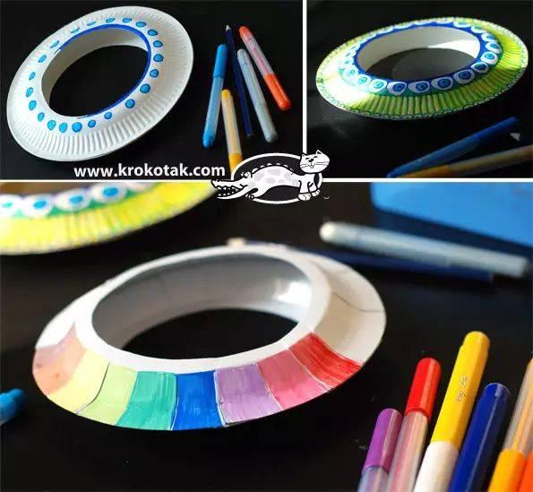 准备材料:纸盘,剪刀,订书机,彩笔 制作步骤图解: 准备材料:纸盘,剪刀