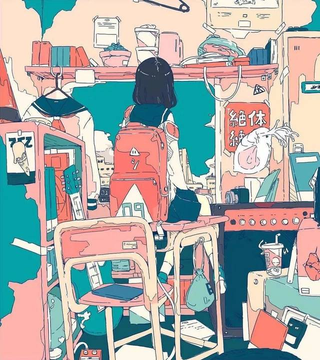 猪精女孩房间乱成这样还觉得很温馨,果然因为是在插画图片