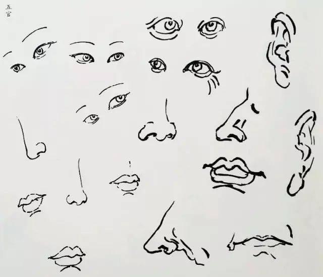 人物的画法 1,头发须髯 五官中最重要的是眼睛,是最为传神的部位,要