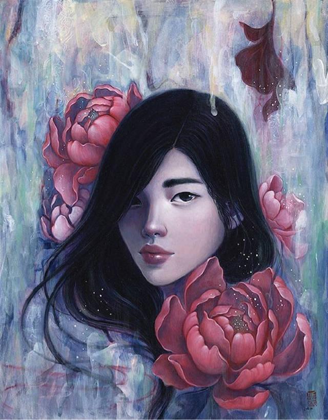 少女漏b艺术_香花与少女 韩国艺术家 stella im hultberg 绘画作品