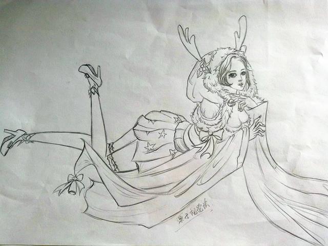 王者荣耀:手绘素描黑白貂蝉,王昭君,露娜美美哒