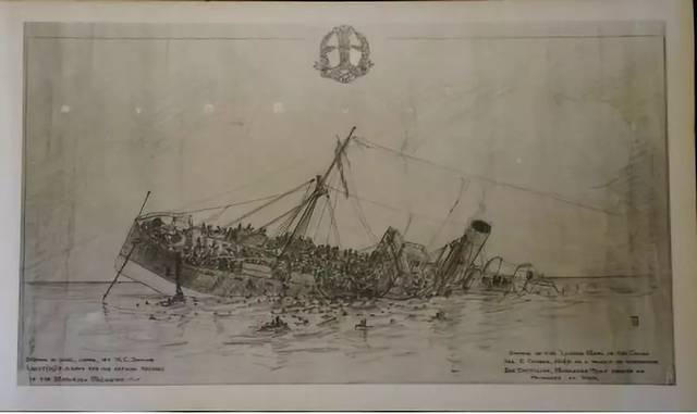 """""""里斯本丸""""沉没的手绘稿 日本战俘营里, 一名美军战俘根据幸存者描述"""
