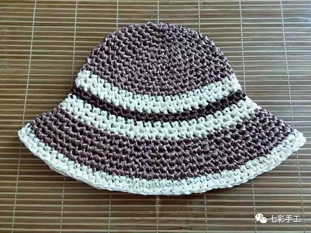 丝带太阳帽钩针编织教程,防风又防晒,美观大方,可做亲子帽