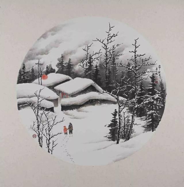 吴大恺著名雪景画家丨雪落乡村皆成诗图片