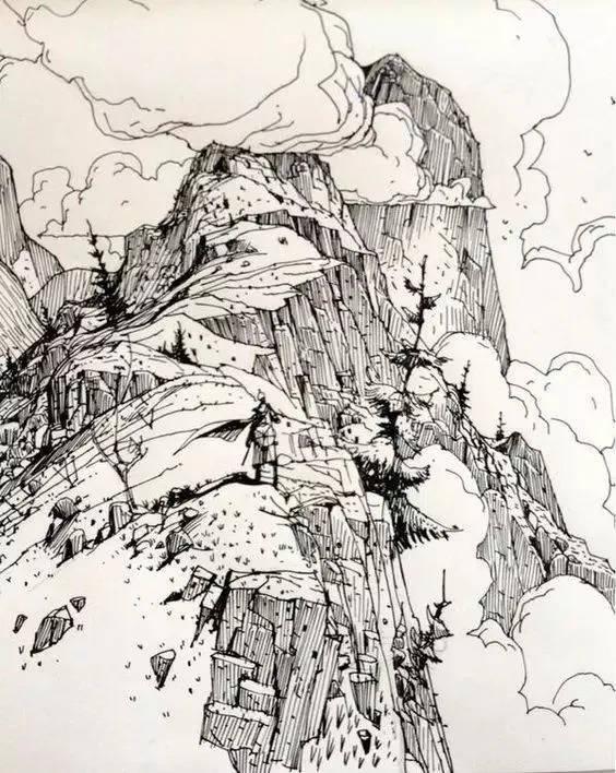 铅笔画出来的风景速写 多了几分的素净 平添了安谧 很多小可爱们不敢