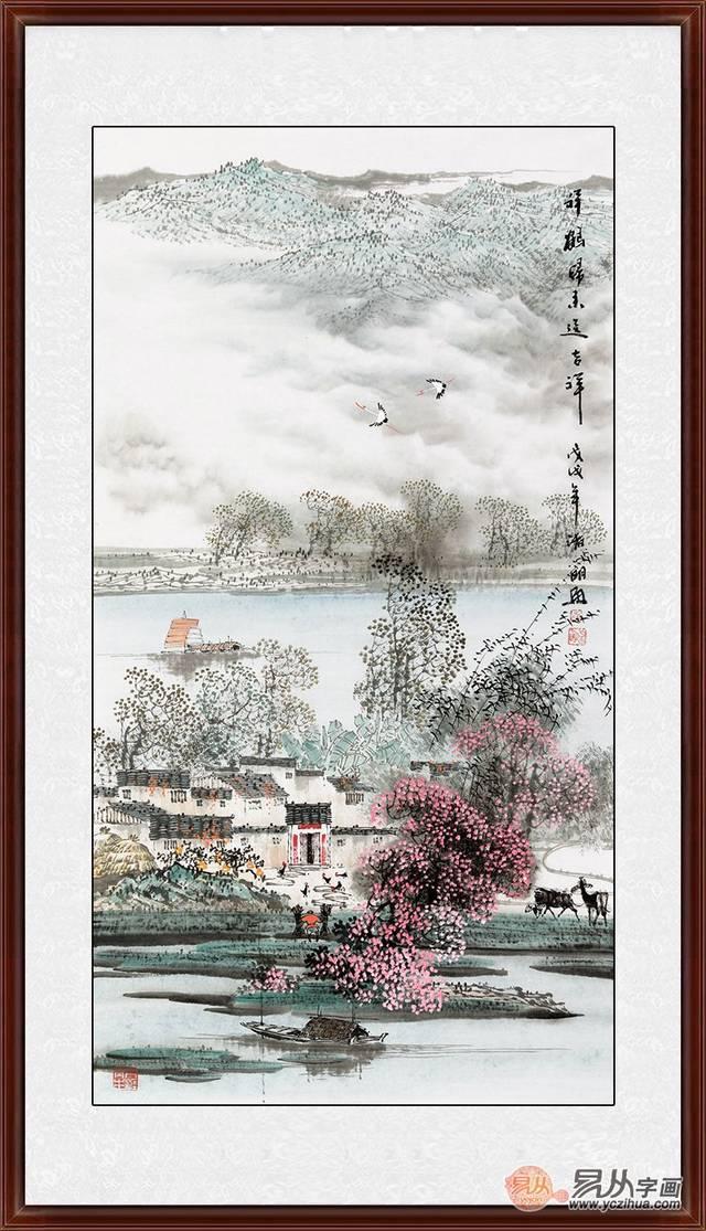 诸明三尺竖幅新品国画山水画《祥鹤归来送吉祥》 (作品来源:易从网)图片